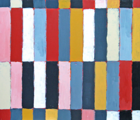 Abstract Colored Keyboard : geometric expressionism, rectangular, colorful abstract stripe patttern acryic painting #1801, 2004 | Kazuya Akimoto Art Museum