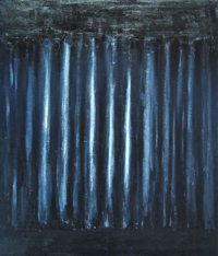 Black Vertical Bars : chiaroscuro style, black and white, dark, black minimalism, abstract unidentified solid object, abstract repetition, acrylic painting #1954, 2004 | Kazuya Akimoto Art Museum