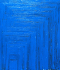 geometric, blue rectangles, rectangular, minimal, minimalism, geometric pattern, abstract acrylic painting #1984, 2004 | Kazuya Akimoto Art Museum