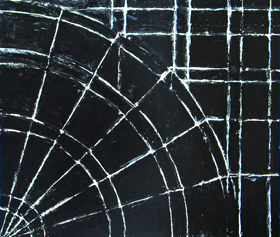Black Quarter Wheel : black minimalism, minimalism, geometric, abstract white line circle pattern, acrylic painting #2012, 2004 | Kazuya Akimoto Art Museum