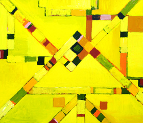 Yellow Metro Lines : yellow, abstract ,subway, metro, tube, underground line map image, urban, city, downtown, straight lines, geometric, acrylic painting #2025, 2004 | Kazuya Akimoto Art Museum