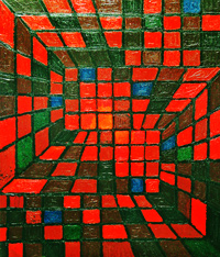 abstract geometric pattern, geometric line pattern abstraction, red square pattern, red square pattern, plaid line pattern, acrylic interior painting #2089, 2004 | Kazuya Akimoto Art Museum