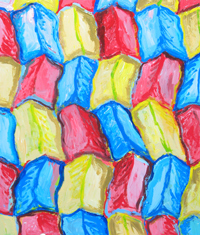 Three Color Ridges: colorful abstract landscape pattern, trichromatic, three primary color pattern, repetition, geographical, abstract, paysage abstrait, acrylic painting#2196, 2004 | Kazuya Akimoto Art Museum