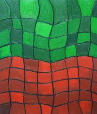 Green and Red  Distorted Grids : abstract geometric distorted grid pattern, complementary colors. distortion, distorted pattern, complementary juxtaposition, abstract geometric pattern, wet, glossy grooved linear pattern, abstract acrylic painting #2223, 2004 | Kazuya Akimoto Art Museum