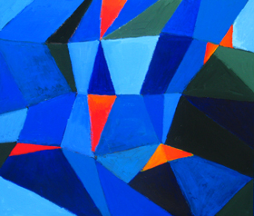 The Seventh Voyage of Synbad the Sailor :  One thousand and one nights, Arabian nights theme, geometric fragmentary blue shade pattern, geometric cubism, abstract cubism, classical literature theme, abstract seascape, abstract blue sea scene, acrylic painting#2275, 2004 | Kazuya Akimoto Art Museum