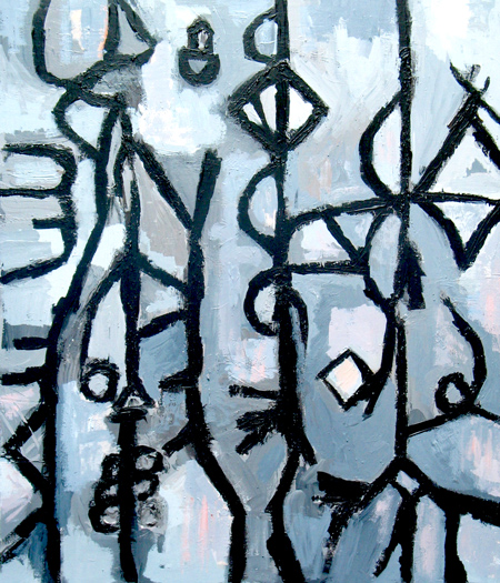 classical piano music theme, abstract thick line monochrome pattern, abstract daily scene acrylic painting #2297, 2004 | Kazuya Akimoto Art Museum