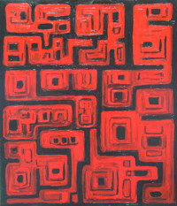 black and red, aerial abstract ancient cityscape painting, rectangular allover geometric pattern, dark red ancient architectural pattern, abstract architecture, stone building symbolism, abstract map, abstract red, historical sanctuary theme, acrylic painting #2379, 2004 | Kazuya Akimoto Art Museum