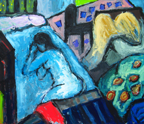 Blue Siesta :New Fauvism, neoexpressionism, neo post impressionism, interior, daily, ordinary life scene, complementary color expressionism, naive expressionism, female body form, human figure, figurative, abstract interior, blue color symbolism, colorful acrylic painting #2581, 2004 | Kazuya Akimoto Art Museum