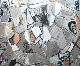 Metallic Symposium : abstract, philosophical, Plato, literature theme, silver cubism, still life, nature morte, interior, metallic color, acrylic painting #3801, 2005 | Kazuya Akimoto Art Museum