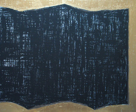 Black Folding Screen : abstract, bronze color, contemporary Japonism abstract painting 2005