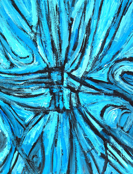 "Blue Line Art Painting : ""entangled blue linear cross abstract line pattern"