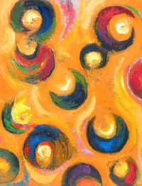 12 Black Crescents in the Orange Sky : abstract, geometric, crescents, crescent pattern, geometric elements, orange, black, colorful, sky, beautiful, vivid, color, acrylic orange color symbolism, contemporary modern painting #4255, 2005 | Kazuya Akimoto Art Museum