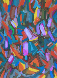 Purple Flakes : fragmentary coloful abstraction, abstract expressionism, lyrical abstract,  allover, purple acrylic painting #4283, 2005 | Kazuya Akimoto Art Museum