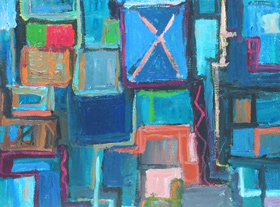 abstract cityscape, geometric, geometric pattern, rectangular pattern, repetition pattern, abstract streetscape, graffiti, rough, brush stroke pattern acrylic painting #4290, 2005 | Kazuya Akimoto Art Museum