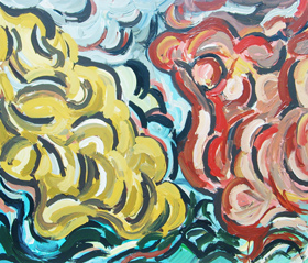 Comparative two Cloud Patterns  : abstract weather theme, abstract cloud pattern, meteorological theme, thick line patterns, acrylic painting #4349, 2005 | Kazuya Akimoto Art Museum