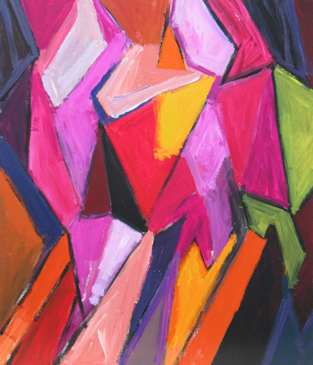 Two Muslim Girls wearing the pink Hijab scarf  : figurative abstract cubism painting, abstract female human figures, contemporary figurative expressionism painting, Muslim woman theme, acrylic painting #4378, 2005 | Kazuya Akimoto Art Museum