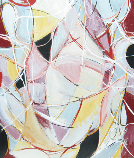 Soft but Sophisticated Abstract Love Affair : abstract dark red and white soft line pattern abstract expressionism painting, abstract curves, linear lyrical abstraction, abstract human love theme, acrylic painting #4428, 2005 | Kazuya Akimoto Art Museum