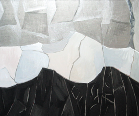 Abstract Black and White Winter Mountains against Silver Metallic Sky :abstract natural scene, abstract line cubism pattern, abstract landscape, cubist landscape, line cubist painting, abstract mountain, cubist mountain, metallic pattern, black and white natural scene, abstract nature, acrylic painting #4484, 2005 | Kazuya Akimoto Art Museum