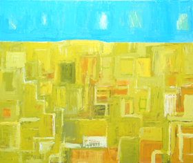 Yellow Abstract Wheat Field with Larks : abstract yellow seasonal impressionism spring landscape painting, abstract expressionism landscape acrylic painting, complementary color sky and ground natural scene, abstract field painting, abstract natural scene, spring theme, abstract spring, abstract seasonal landscape, pastel color composition, abstract naive expressionism, naive abstraction,  acrylic painting, #4500, 2005 | Kazuya Akimoto Art Museum