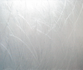 Abstract Silver Reed Pattern : abstract metallic contemporary Japonisme painting, line minimalism, abstract line pattern, Japanese medieval traditional metallic pattern, silver color symbolism, metallic monochrome, curved minimalism abstract line pattern, traditional medieval Japanese cultural design pattern, abstract minimalism, acrylic painting #4513, 2005   Kazuya Akimoto Art Museum