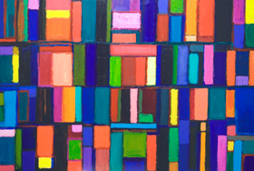 Colorful Chats : abstract, geometric, rectanguler, colorful painting 2006