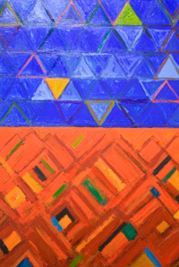 The World is originally Geometric  : abstract geometric triangle, diamond, pattern, cobalt blue and red complementary color contrast, comparison, juxtaposition, abstract allegory, acrylic painting #5585, 2006 | Kazuya Akimoto Art Museum