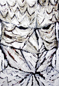 Silent Bird Man ; surreal, facial expressionism, odd creature's head portrait, monotone, bird symbolism, animal head, raw surrealism face, head painting, impasto, brush stroke pattern, abstract human face acrylic painting #5778, 2006 | Kazuya Akimoto Art Museum
