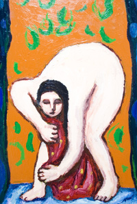 Woman drying herself with a towel