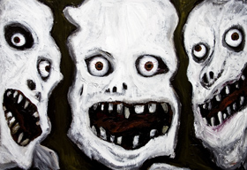 Three Skulls : New black and white, surrealism human face painting :  surrealism, odd, uncanny, figurative, human face, distorted, skulls,surreal acrylic painting #6369, 2007 | Kazuya Akimoto Art Museum