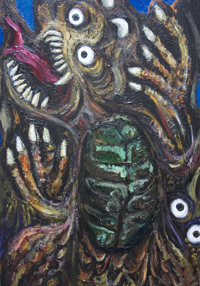 New, surrealism, imaginary, legendary, mythological, chinese animal, asian monster, scary,dreadful, eerie, odd, strange, weird acrylic painting #6435, 2007 | Kazuya Akimoto Art Museum