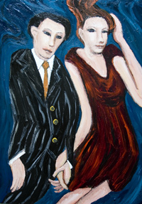 New, human figure, expressionism, figurative, distortion, distorted, young man and woman portrait, acrylic painting #6486, 2007 | Kazuya Akimoto Art Museum