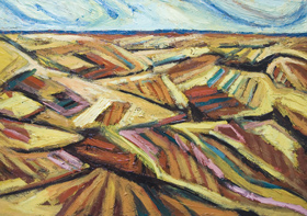 New, abstract landscape, seasonal nature scene, abstract thick line pattern, agricultural theme, earth color, strong, colorful acrylic semiabstract landscape painting #6514, 2007 | Kazuya Akimoto Art Museum