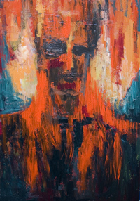 Spontaneous Human Combustion : New, supernatural, abstract symbolic surreal human portrait impressionism, black and red, abstract human face, surrealism, strange, visionary, imagenary impressionism, abstract surrealism, symbolic human form expressionism painting #6536, 2007