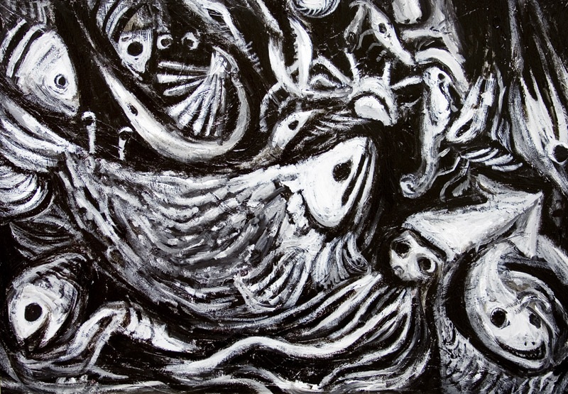 Black And White Odd Art : Quot a good catch new japonism abstract black and white