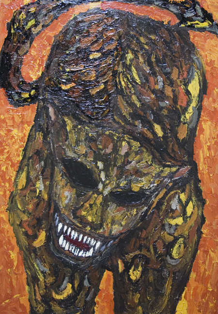 666 – The Number of the Beast : New, biblical,symbolism,surrealism, raw art, art brut, mosaic style, fierce, savage, sacry monster image, religious, acrylic, christianity, evil animal painting #6628, 2007 | Kazuya Akimoto Art Museum