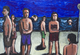 Bathers : New, figurative, expressionism, human figures, people, ordinary, daily, life scene, seaside, beach, dark and light, shade and light, seasonal, acrylic painting$6736, 2007  Kazuya Akimoto Art Museum