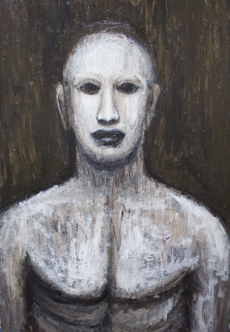 Golem : New, jewish, folklore, legendary, scary, eerie, weird, creature, black and white, painting   surreal, surreaism, man, male, contemporary, realism, acrylic, monster theme painting #6745, 2007 | Kazuya Akimoto Art Museum