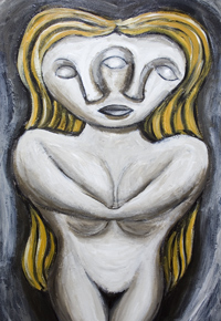 New, neoclssicism, sculptural, surrealism, female portrait, human form, odd, strange, woman body, classical,  distortion, distorted figure, female, woman, figurative, human figure, mirror, reflection, distortion, acrylic painting #6753, 2007 | Kazuya Akimoto Art Museum