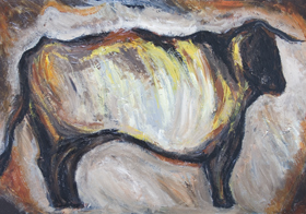 Cave Cattle : New, abstract realism, living thing, animal symbolism, cave image, abstract symbolism, ancient, texture, imapsto, archaeological theme, acrylic painting#6922, 2007 | Kazuya Akimoto Art Museum