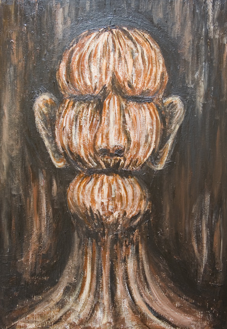 New, surreal realism, abstract realism, surrealism, human, man, male, portrait, bust, human expressionism, facial expressions, sculptural, distortion, deforme, human form, human face, acrylic painting #6984, 2007 | Kazuya Akimoto Art Museum