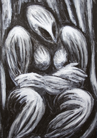 Mother Goddess : New black and white, dynamic, sculptural, abstract strong female body form, mythological, religious, archaeological, symbolism, woman, female, mother earth, great mother, abstract human figure, surrealism painting #7032, 2008 | Kazuya Akimoto Art Museum