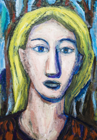 English Teacher: New expressionism female portrait acrylic painting #7039, 2008 | Kazuya Akimoto Art Museum