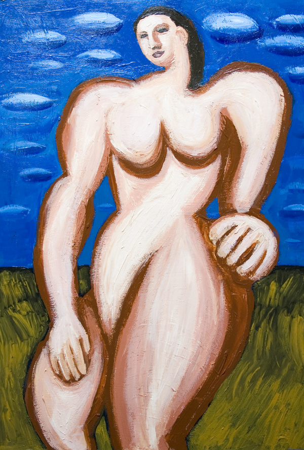 Giant Woman in the open air : New, neoclassicism, woman, female massive body form, dynamic mass movement, contemporary human figure, abstract human body form, acrylic painting #7108, 2008 | Kazuya Akimoto Art Museum