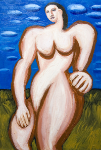 Giant Woman in the open air : New, neoclassicism, woman, female massive body form, dynamic mass movement, contemporary human figure, abstract human body form, acrylic painting #7108, 2008  Kazuya Akimoto Art Museum