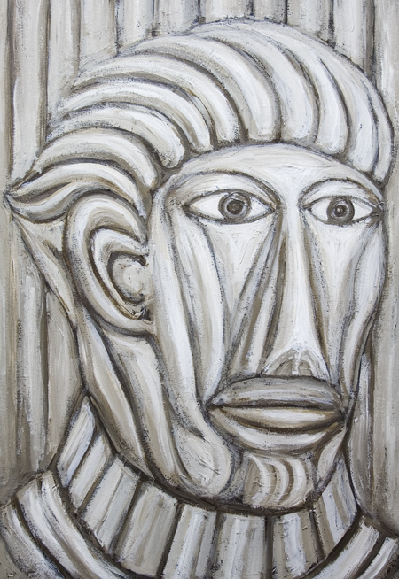 New, neoclassicism, abstract, monochrome, man's expressionism portrait, historic, ancient Rome,  acrylic painting#7205, 2008 | Kazuya Akimoto Art Museum