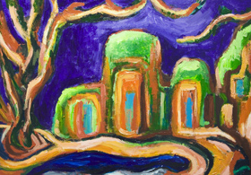 The Abbey in the Jungle : New, architectural symbolism painting, abstract landscape, abstract natural scene, abstract nature, architectural, abstract religious architecture, green and purple, expressionism, post impressionism, fauvism, color symbolism, acrylic painting #7248, 2008 | Kazuya Akimoto Art Museum