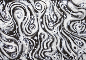 Abstract Spiral Galaxies  : New,black and white raw art,  black and white, astronomical symbolism painting, abstract surreal galaxy image, abstract night sky, abstract light, light symbolism, luminous, abstract milky way, black and white surrealism, acrylic painting #7261, 2008 | Kazuya Akimoto Art Museum