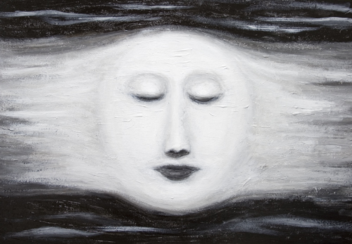 Diana, Sleeping Full Moon  : New, black and white, astronomical symbolism, personified Full Moon image, distorted female face, mythical, mythological symbolism, female,human, woman face symbolism, facial expressions, contemporary chiaroscuro style, sfumato technique, visionary, imaginary human face theme, acrylic painting# 7268, 2008 | Kazuya Akimoto Art Museum