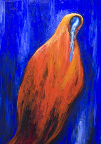 Stabat Mater dolorosa, Red : new, abstract Virgin, Mary portrait, contemporary religious painting, complementary color expressionism, religious symbolism, abstract distorted human figure, abstract female portrait, traditional Christianity theme, blue and red  color symbolism, complementary color, acrylic painting #7292, 2008 | Kazuya Akimoto Art Museum
