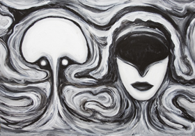 Virtual Marriage: New, surrealism, faces, human head juxtaposition, virtual love, marital theme, black and white symbolism painting, number 2 symbolism, distortion, deforme, odd, strange, allegorical, surreal expressionism, man and woman , cyberspace love, facial expressions, acrylic painting # 7330, 2008 |Kazuya Akimoto Art Museum